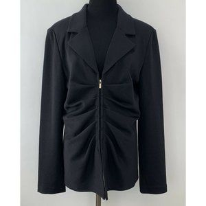 ST JOHN CAVIAR Womens Black Ruched Jacket 14
